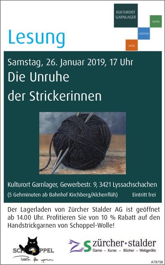 """Kulturort Garnlager - Lesung """"Die Unruhe der Strickerinnen am 26. Januar"""