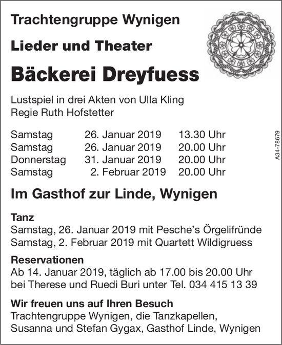 """Trachtengruppe Wynigen - Lieder und Theater """"Bäckerei Dreyfuess"""", 26.-31. Jan. + 2. Feb."""