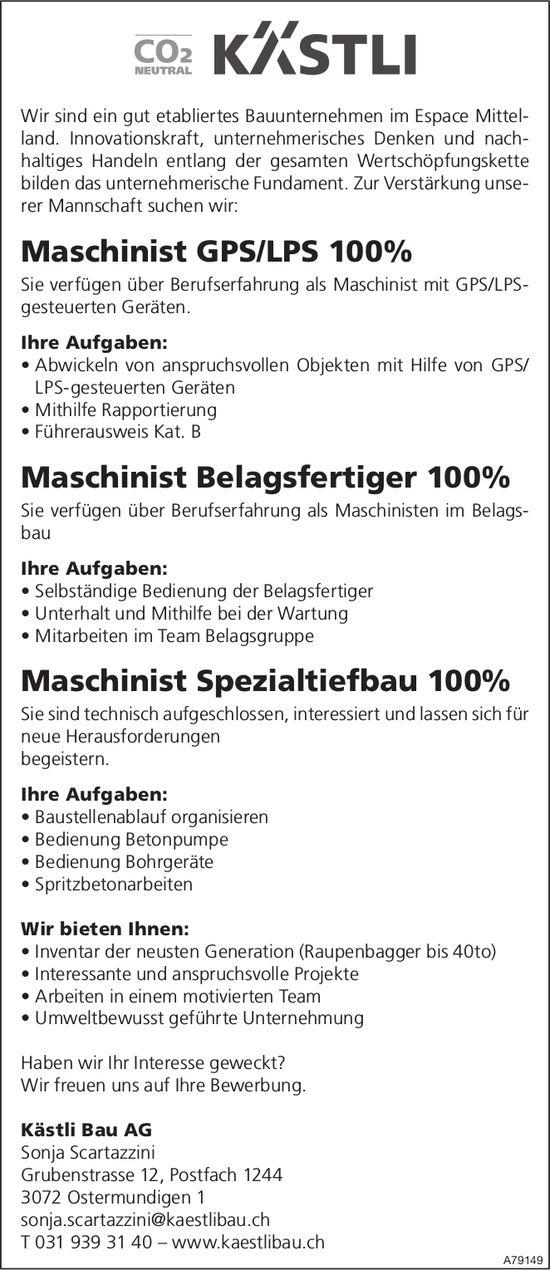 Maschinisten bei Kästli Bau AG gesucht