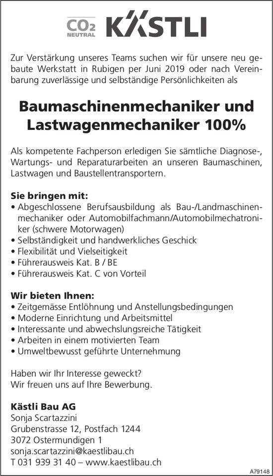 Baumaschinenmechaniker und Lastwagenmechaniker 100% bei Kästli Bau AG gesucht