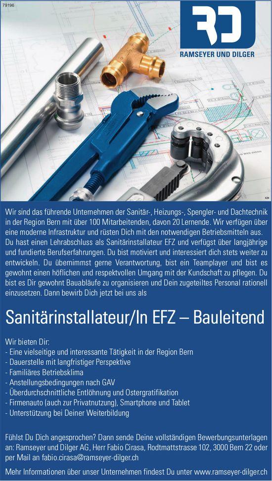 Sanitärinstallateur/In EFZ – Bauleitend bei Ramseyer und Dilger AG gesucht