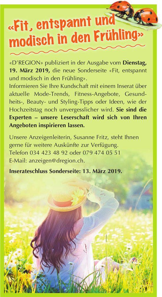 """«Fit,entspannt und modisch in den Frühling», Sonderseite in """"D'REGION"""" am 19. März"""