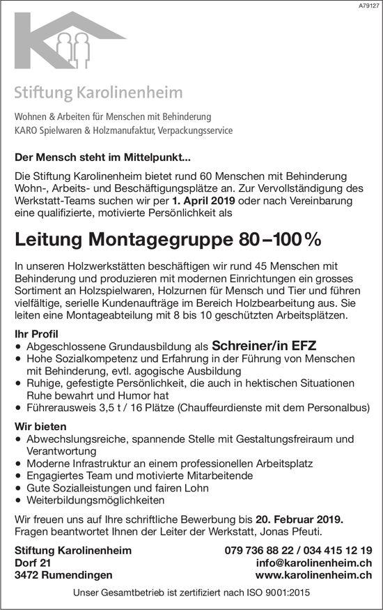 Leitung Montagegruppe 80–100% bei Stiftung Karolinenheim gesucht