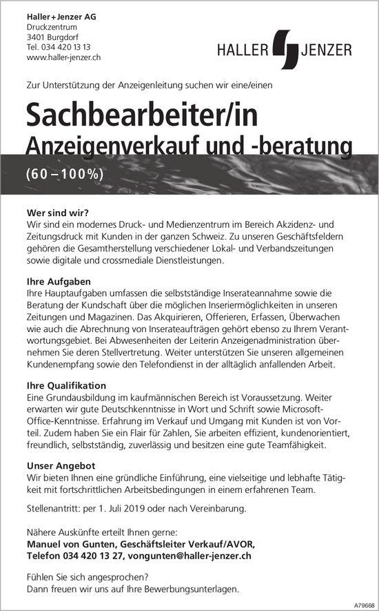 Sachbearbeiter/in Anzeigenverkauf und -beratung bei Haller + Jenzer AG gesucht