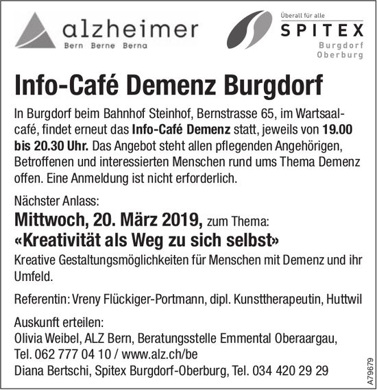 Info-Café Demenz Burgdorf - Nächster Anlass: 20. März zum Thema «Kreativität als Weg zu sich selbst»