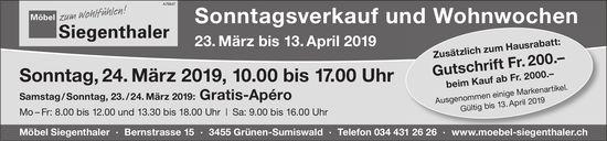 Möbel Siegenthaler - Sonntagsverkauf und Wohnwochen, 23. März bis 13. April