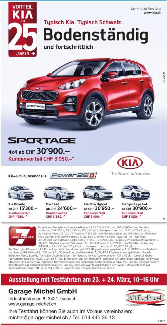 Garage Michel GmbH - Kia Sportage: Ausstellung mit Testfahrten am 23. + 24. März