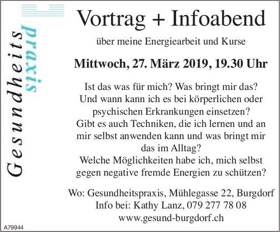 Gesundheitspraxis Burgdorf - Vortrag + Infoabend über meine Energiearbeit und Kurse am 27. März