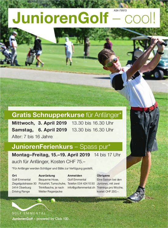 Golf Emmental - Gratis Schnupperkurse, 3./6. April / JuniorenFerienkurs, 15.-19. April