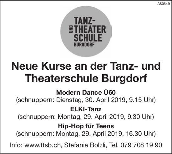 Neue Kurse an der Tanz- und Theaterschule Burgdorf