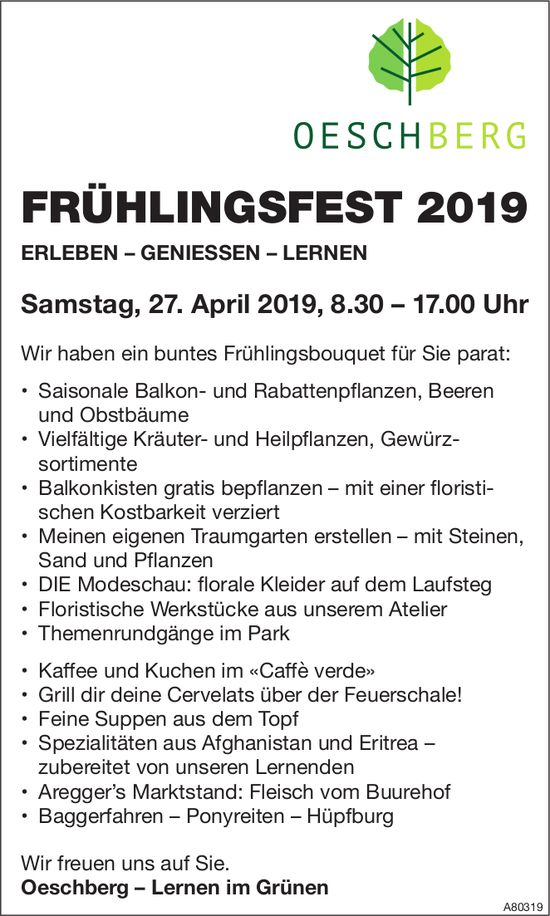 OESCHBERG - FRÜHLINGSFEST 2019 AM 27. APRIL