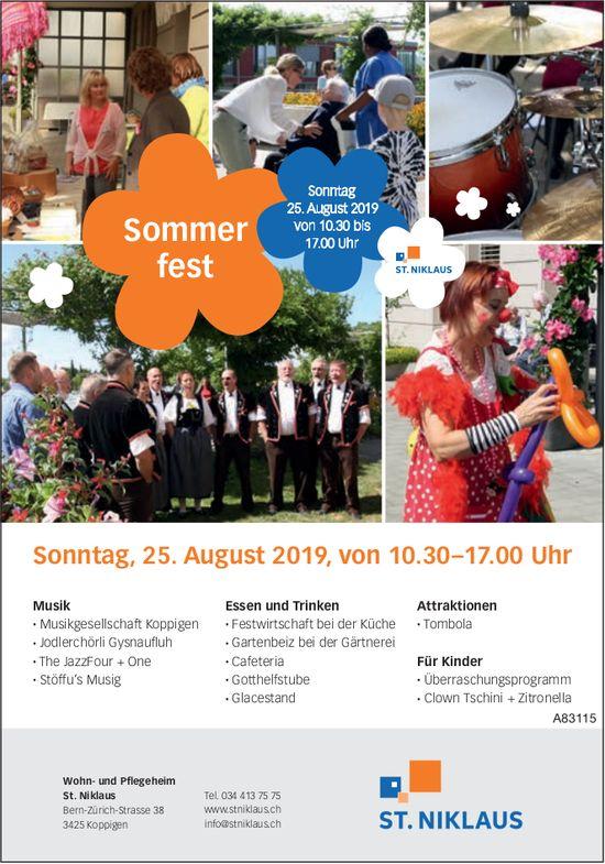 Wohn- und Pflegeheim St. Niklaus - Sommerfest am 25. August
