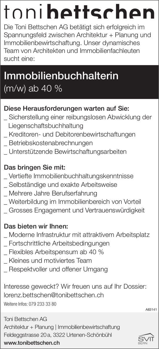 Immobilienbuchhalterin (m/w) ab 40 % bei Toni Bettschen AG gesucht