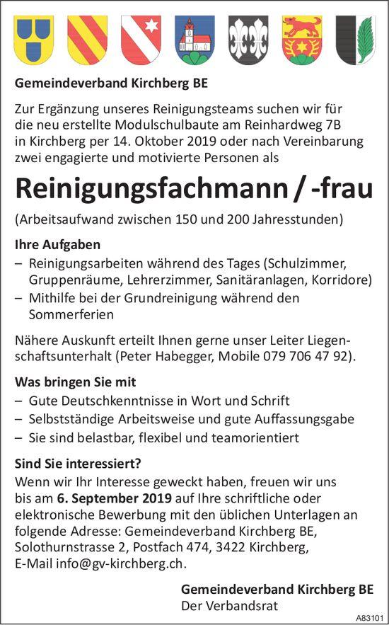 Zwei Reinigungsfachmann/-frau bei Gemeindeverband Kirchberg BE gesucht