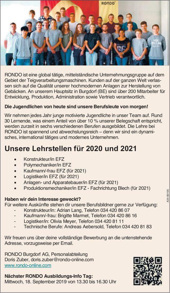 RONDO Buradorf AG - Unsere Lehrstellen für 2020 und 2021 + Ausbildungs-Info Tag am 18. September