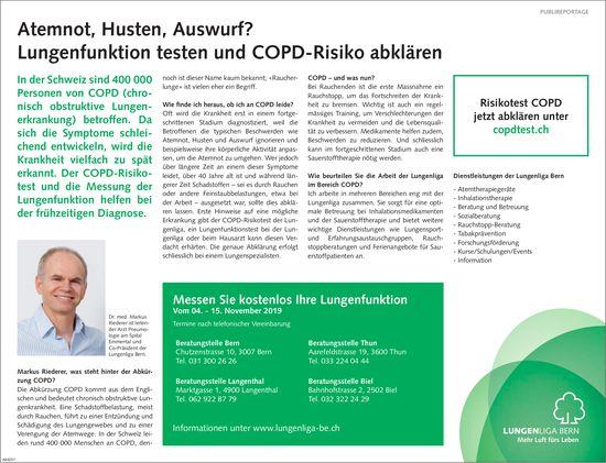 LUNGENLIGA BERN - Messen Sie kostenlos Ihre Lungenfunktion Vom 04. - 15. November