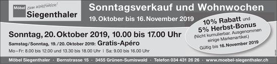 Möbel Siegenthaler - Sonntagsverkauf und Wohnwochen, 19. Oktober bis 16. November
