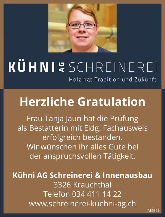 Kühni AG Schreinerei & Innenausbau - Herzliche Gratulation Frau Tanja Jaun