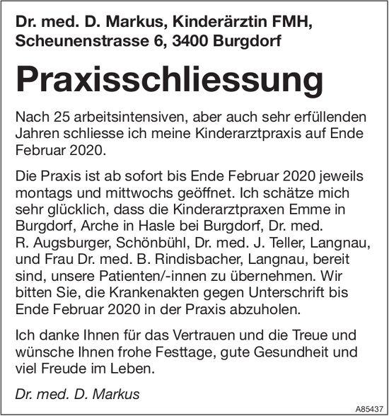 Dr. med. D. Markus, Kinderärztin FMH, Burgdorf - Praxisschliessung