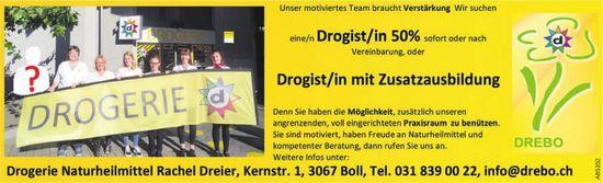 Drogist/in 50% o. Drogist/in mit Zusatzausbildung bei Drogerie Naturheilmittel Rachel Dreier gesucht