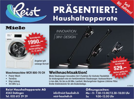 Reist Haushaltapparate AG - Weihnachtsaktion! Miele Staubsauger Innovative 3in1-Funktion