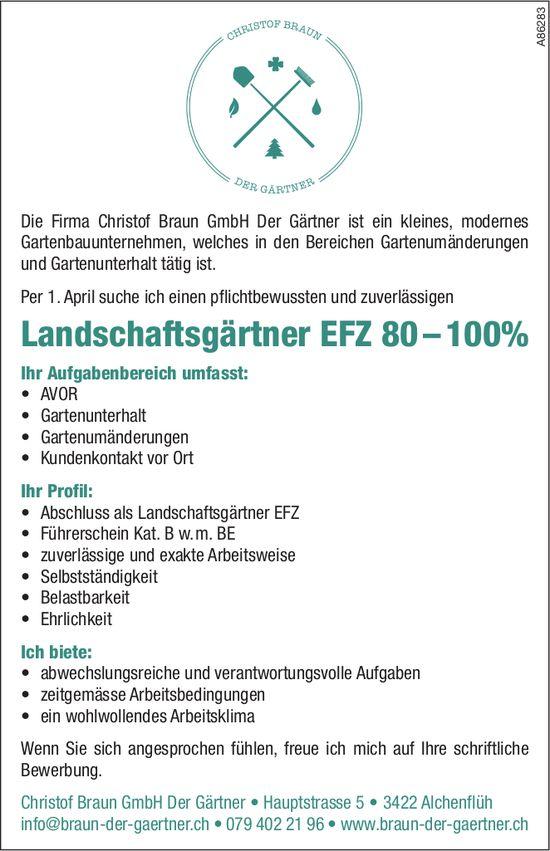 Landschaftsgärtner EFZ 80 – 100% bei Firma Christof Braun GmbH gesucht
