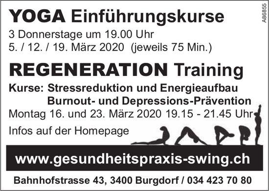 YOGA Einführungskurse + REGENERATION Training, Gesundheitspraxis Swing