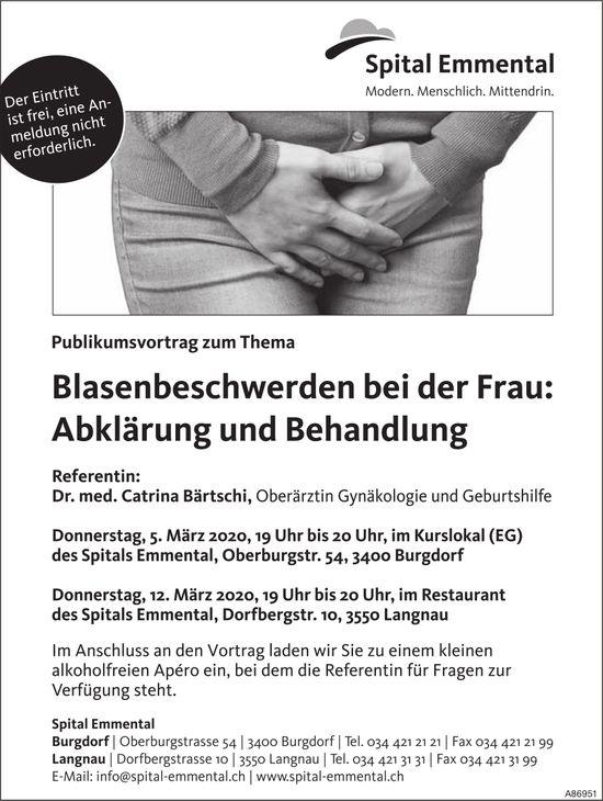 Publikumsvortrag zum Thema Blasenbeschwerden bei der Frau, 5. + 12. März, Spital Emmental