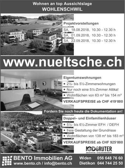 Projektvorstellungen Eigentumswohnungen, Doppel- und EFH in Wohlenschwil