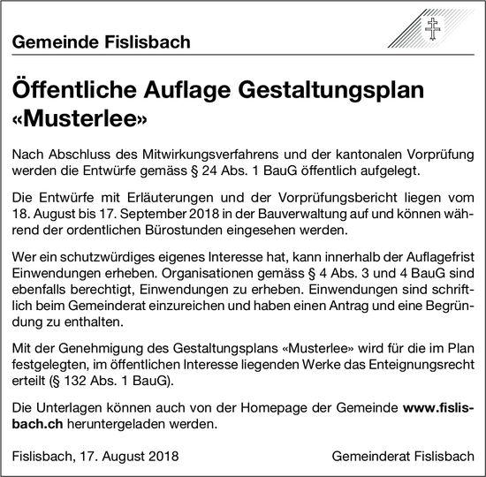Gemeinde Fislisbach: Öffentliche Auflage Gestaltungsplan «Musterlee»