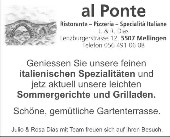 Geniessen Sie unsere feinen italienischen Spezialitäten, Ristorante al Ponte