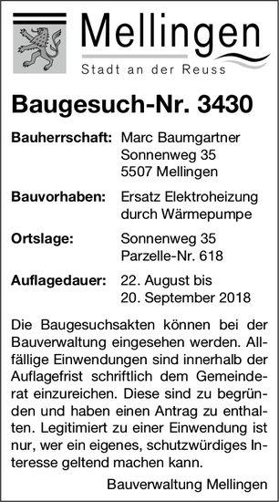 Mellingen: Baugesuch-Nr. 3430