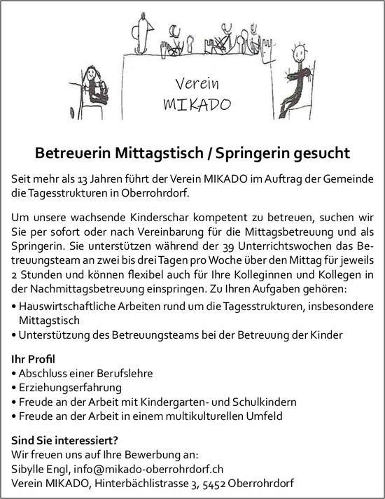 Betreuerin Mittagstisch / Springerin gesucht, Verein MIKADO