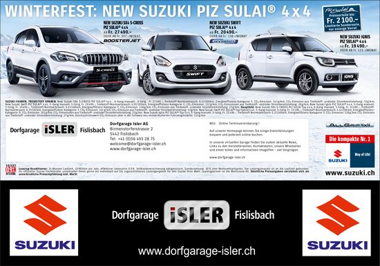 Winterfest: New Suzuki Piz Sulai® 4x4, Dorfgarage Isler Fislisbach