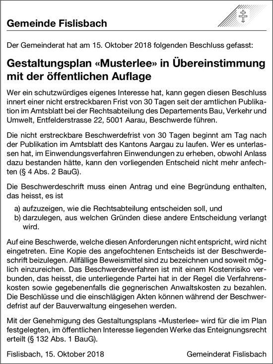 Gemeinde Fislisbach: Gestaltungsplan «Musterlee» in Übereinstimmung mit der öffentlichen Auflage