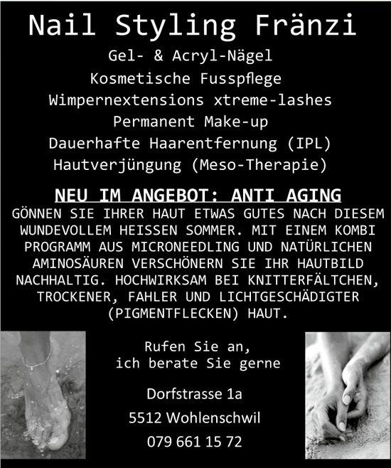 Neu im Angebot: Anti Aging, Nail Styling Fränzi