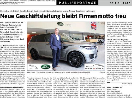 Neue Geschäftsleitung bleibt Firmenmotto treu, British Cars Baden AG