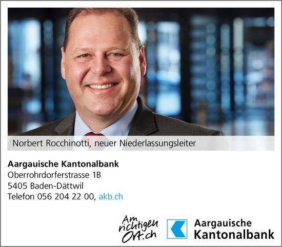 Aargauische Kantonalbank - Norbert Rocchinotti, neuer Niederlassungsleiter