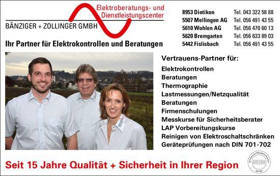 Bänziger + Zollinger GmbH, Ihr Partner für Elektrokontrollen und Beratungen