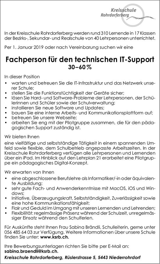 Fachperson für den technischen IT-Support, 30–60%, Kreisschule Rohrdorferberg
