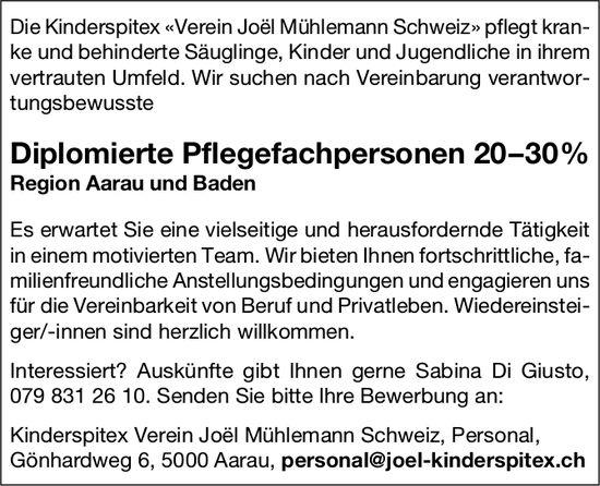 Diplomierte Pflegefachpersonen, 20–30%, Kinderspitex «Verein Joël Mühlemann Schweiz»