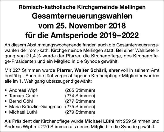 Röm.-kath. Kirchgemeinde Mellingen: Gesamterneuerungswahlen 2019-2022 vom 25. Nov.