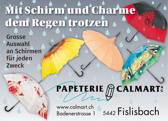 Mit Schirm und Charme dem Regen trotzen, Papeterie Calmart AG
