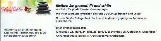Bleiben Sie gesund, fit und schön - Erscheinungstage 2019, Reussbote