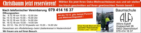 Christbaum jetzt reservieren! Baumschule Alfons Egloff