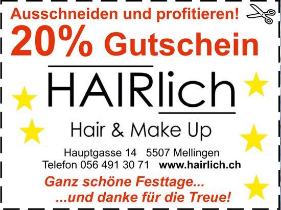 20% Gutschein, HAIRlich Hair & Make Up
