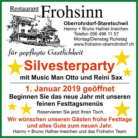 Silvesterparty mit Music Man Otto und Reini Sax, Restaurant Frohsinn