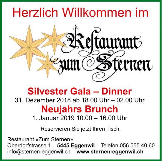 Silvester Gala-Dinner: 31. Dez. / Neujahrs Brunch: 1. Jan, Restaurant zum Sternen
