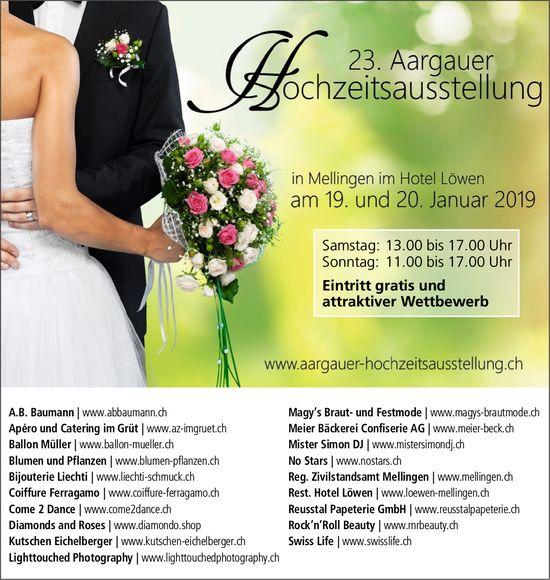 23. Aargauer Hochzeitsausstellung, 19. & 20. Jan., Hotel Löwen Mellingen