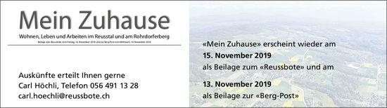 «Mein Zuhause» erscheint wieder am 15. November 2019 als Beilage zum «Reussbote»
